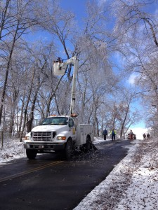 bucket truck in ice storm